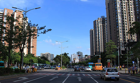 BBE LS10 led street lighting in Meilong Avenue, Shenzhen, China